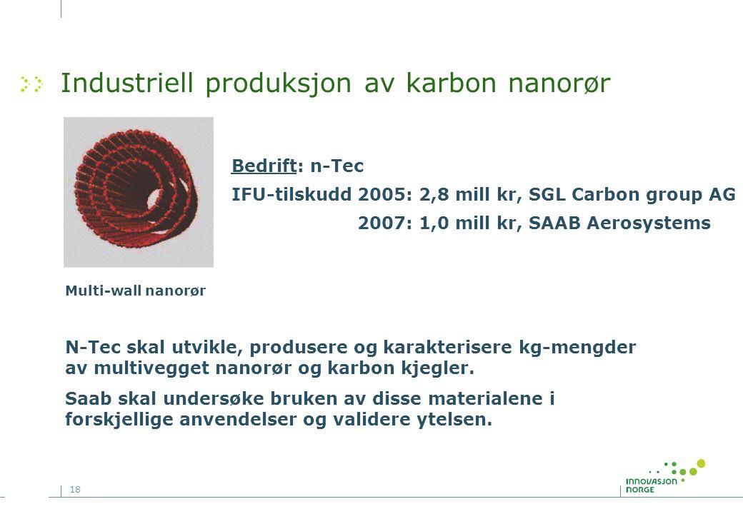 18 Industriell produksjon av karbon nanorør Bedrift: n-Tec IFU-tilskudd 2005: 2,8 mill kr, SGL Carbon group AG 2007: 1,0 mill kr, SAAB Aerosystems Multi-wall nanorør N-Tec skal utvikle, produsere og karakterisere kg-mengder av multivegget nanorør og karbon kjegler.