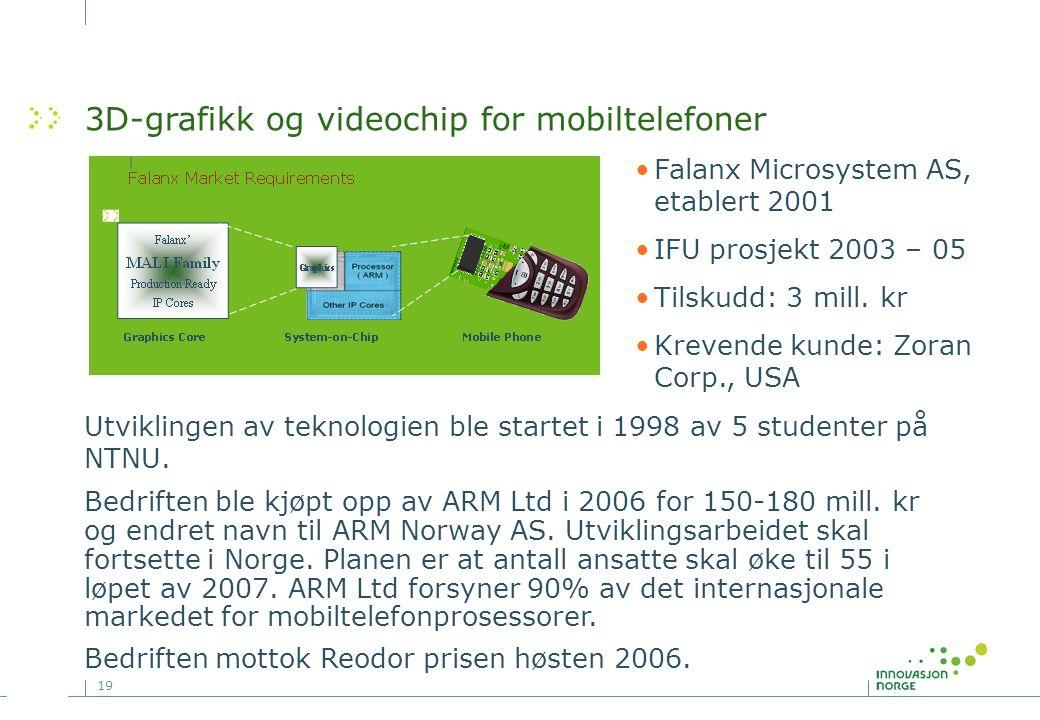 19 3D-grafikk og videochip for mobiltelefoner Bedriften ble kjøpt opp av ARM Ltd i 2006 for 150-180 mill.
