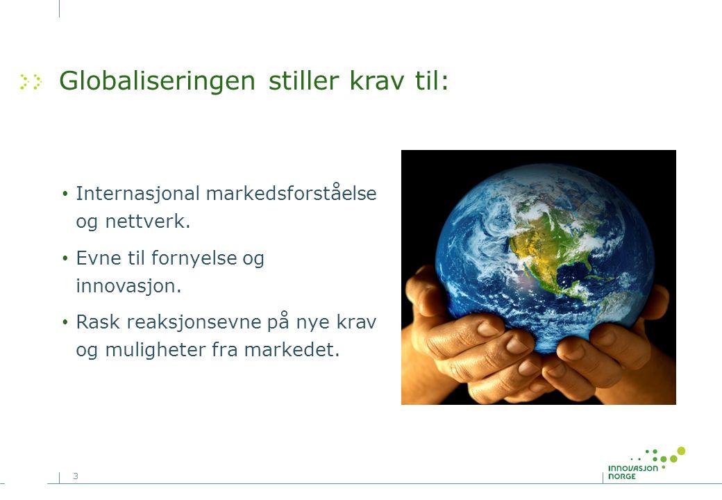 3 Globaliseringen stiller krav til: Internasjonal markedsforståelse og nettverk.