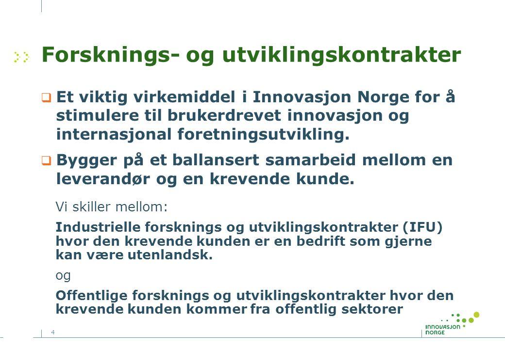 4 Forsknings- og utviklingskontrakter  Et viktig virkemiddel i Innovasjon Norge for å stimulere til brukerdrevet innovasjon og internasjonal foretningsutvikling.