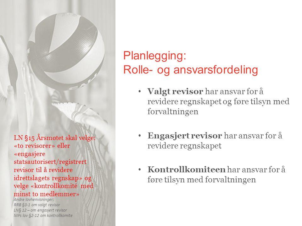 Planlegging: Rolle- og ansvarsfordeling Valgt revisor har ansvar for å revidere regnskapet og føre tilsyn med forvaltningen Engasjert revisor har ansv