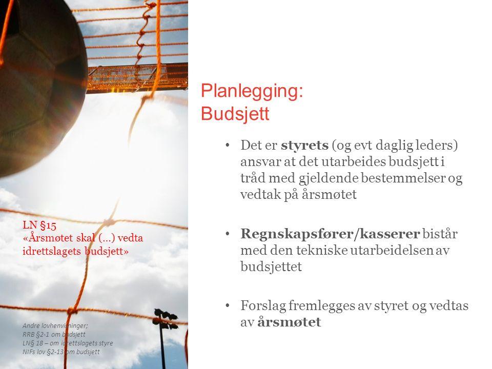 Planlegging: Budsjett Det er styrets (og evt daglig leders) ansvar at det utarbeides budsjett i tråd med gjeldende bestemmelser og vedtak på årsmøtet