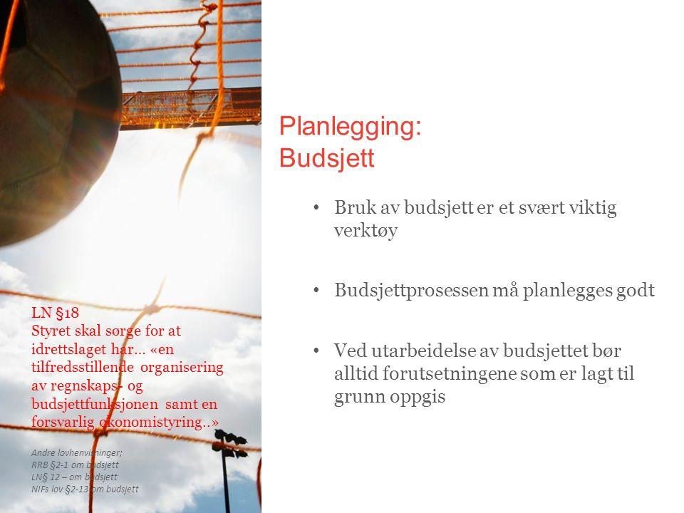 Planlegging: Budsjett Bruk av budsjett er et svært viktig verktøy Budsjettprosessen må planlegges godt Ved utarbeidelse av budsjettet bør alltid forut