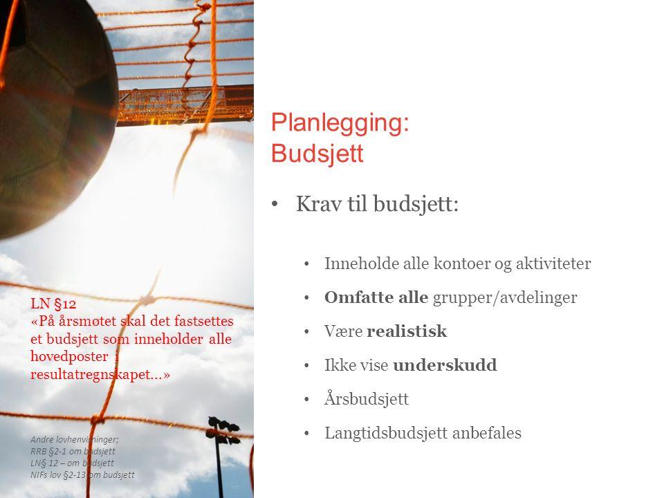 Planlegging: Budsjett Krav til budsjett: Inneholde alle kontoer og aktiviteter Omfatte alle grupper/avdelinger Være realistisk Ikke vise underskudd År