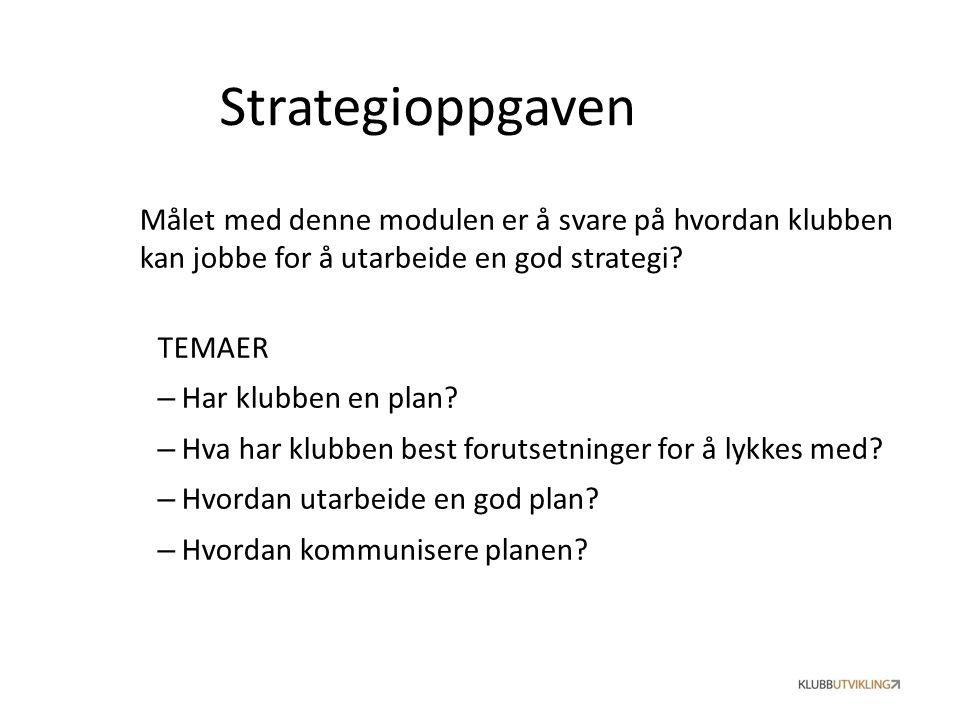 Strategioppgaven Målet med denne modulen er å svare på hvordan klubben kan jobbe for å utarbeide en god strategi? TEMAER – Har klubben en plan? – Hva