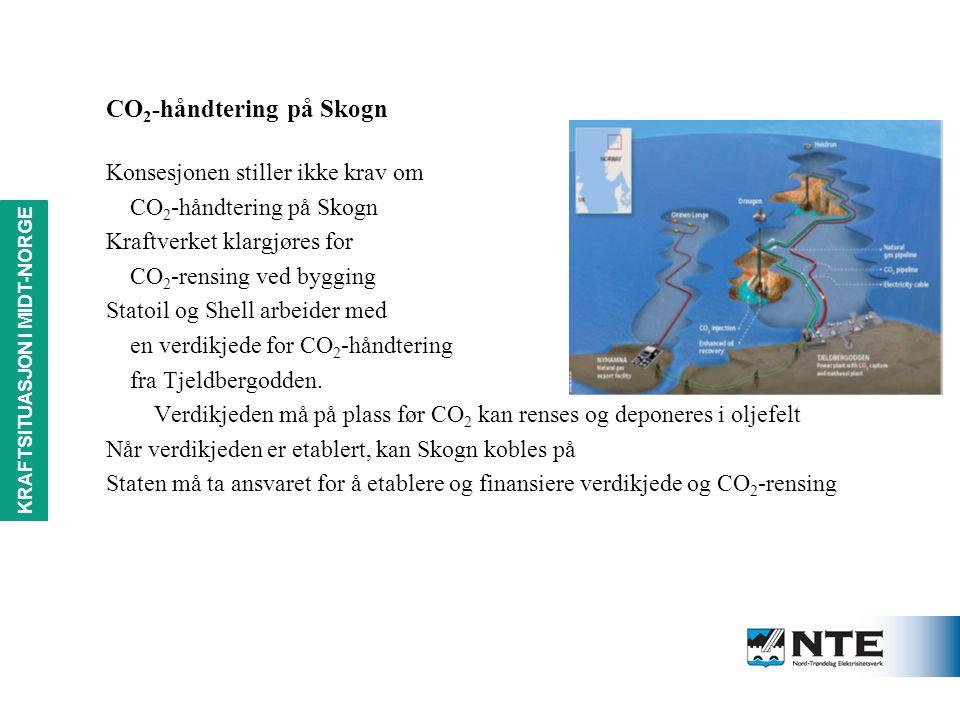 KRAFTSITUASJON i MIDT-NORGE CO 2 -håndtering på Skogn Konsesjonen stiller ikke krav om CO 2 -håndtering på Skogn Kraftverket klargjøres for CO 2 -rensing ved bygging Statoil og Shell arbeider med en verdikjede for CO 2 -håndtering fra Tjeldbergodden.