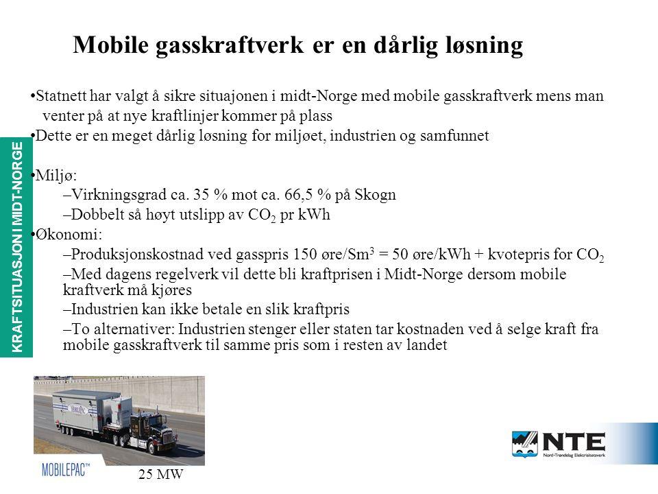KRAFTSITUASJON i MIDT-NORGE Mobile gasskraftverk er en dårlig løsning Statnett har valgt å sikre situajonen i midt-Norge med mobile gasskraftverk mens man venter på at nye kraftlinjer kommer på plass Dette er en meget dårlig løsning for miljøet, industrien og samfunnet Miljø: –Virkningsgrad ca.