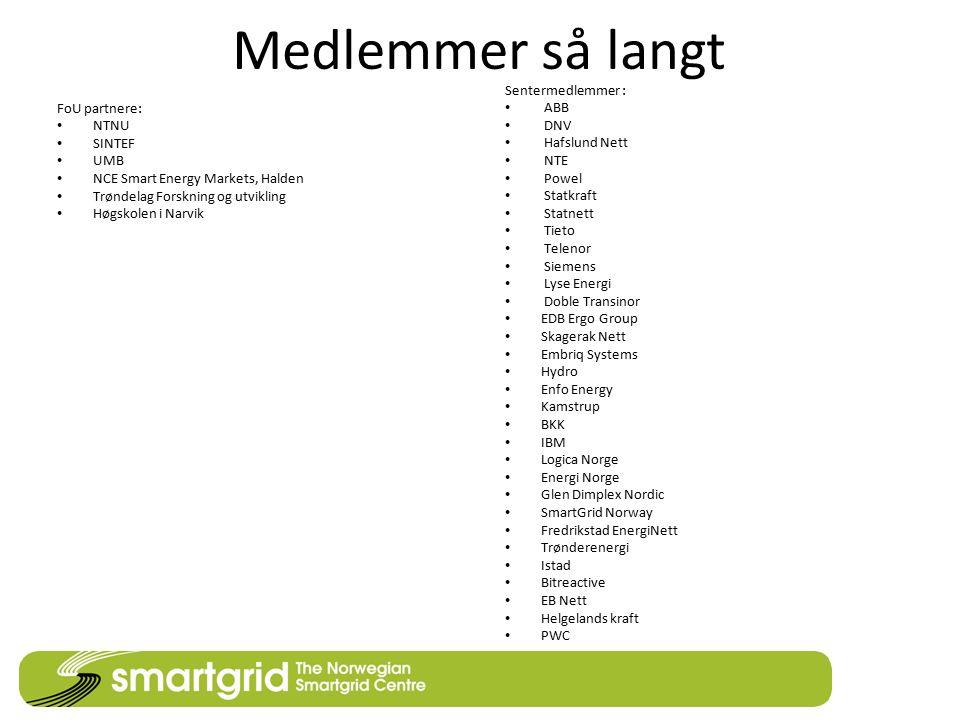 Medlemmer så langt FoU partnere: NTNU SINTEF UMB NCE Smart Energy Markets, Halden Trøndelag Forskning og utvikling Høgskolen i Narvik Sentermedlemmer
