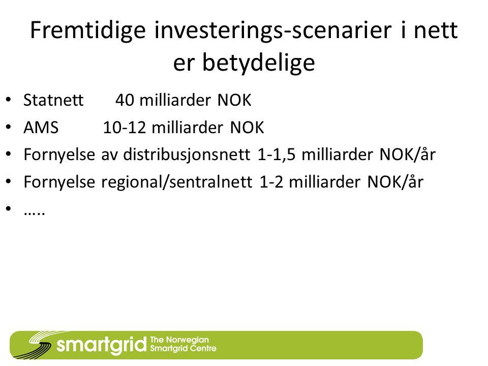 Fremtidige investerings-scenarier i nett er betydelige Statnett 40 milliarder NOK AMS10-12 milliarder NOK Fornyelse av distribusjonsnett 1-1,5 milliar