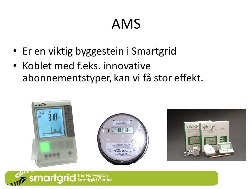 AMS Er en viktig byggestein i Smartgrid Koblet med f.eks. innovative abonnementstyper, kan vi få stor effekt.