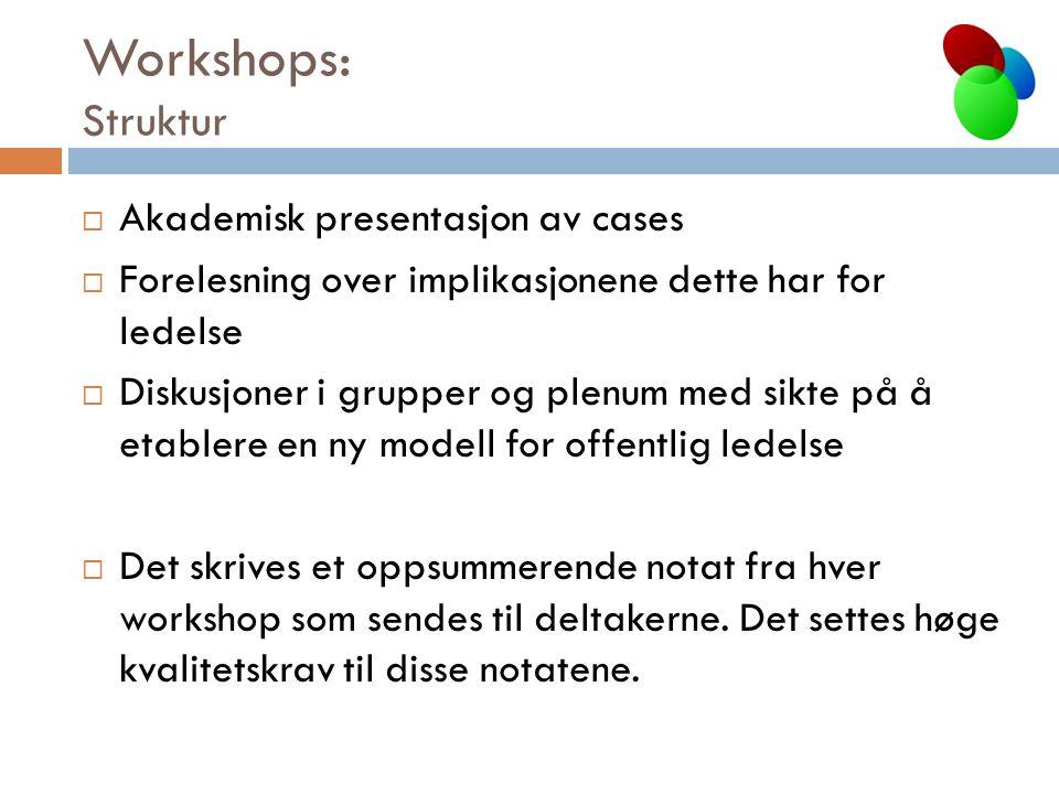 Workshops: Struktur  Akademisk presentasjon av cases  Forelesning over implikasjonene dette har for ledelse  Diskusjoner i grupper og plenum med sikte på å etablere en ny modell for offentlig ledelse  Det skrives et oppsummerende notat fra hver workshop som sendes til deltakerne.
