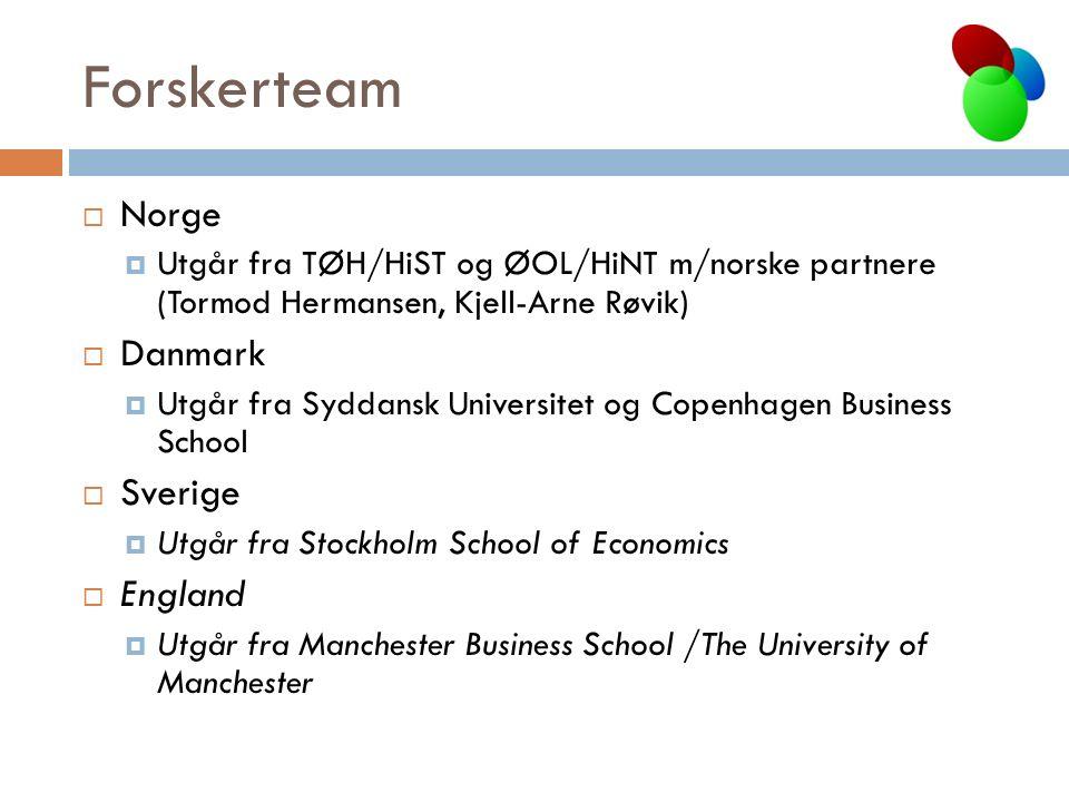 Forskerteam  Norge  Utgår fra TØH/HiST og ØOL/HiNT m/norske partnere (Tormod Hermansen, Kjell-Arne Røvik)  Danmark  Utgår fra Syddansk Universitet