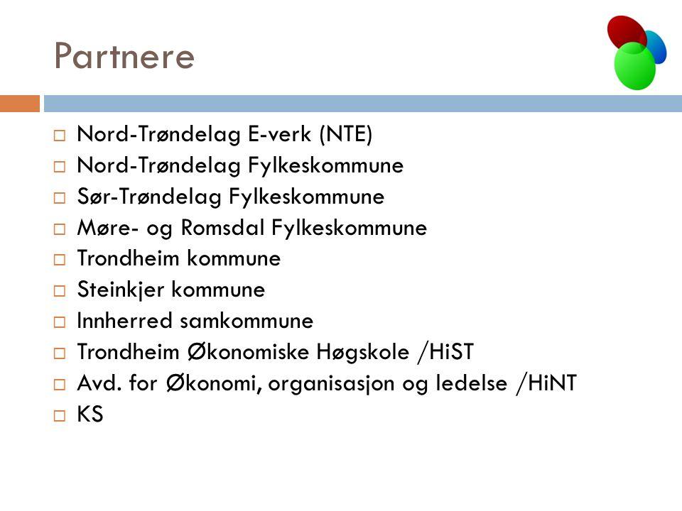 Partnere  Nord-Trøndelag E-verk (NTE)  Nord-Trøndelag Fylkeskommune  Sør-Trøndelag Fylkeskommune  Møre- og Romsdal Fylkeskommune  Trondheim kommune  Steinkjer kommune  Innherred samkommune  Trondheim Økonomiske Høgskole /HiST  Avd.