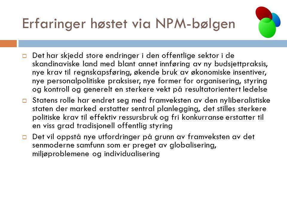 Erfaringer høstet via NPM-bølgen  Det har skjedd store endringer i den offentlige sektor i de skandinaviske land med blant annet innføring av ny buds