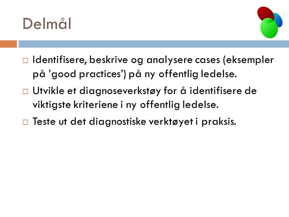 Delmål  Identifisere, beskrive og analysere cases (eksempler på 'good practices') på ny offentlig ledelse.  Utvikle et diagnoseverkstøy for å identi
