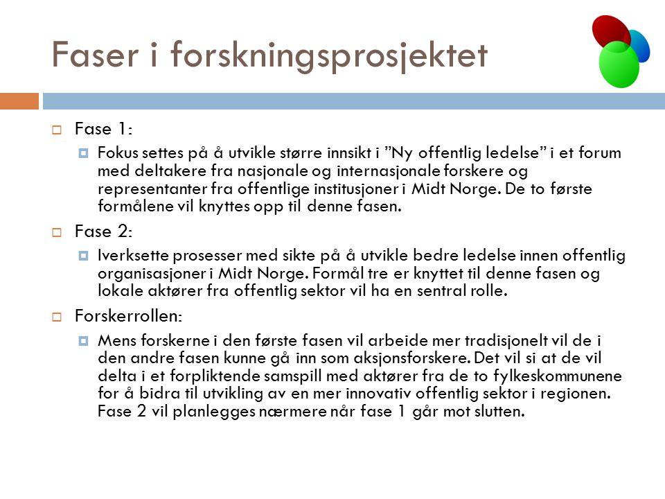 Faser i forskningsprosjektet  Fase 1:  Fokus settes på å utvikle større innsikt i Ny offentlig ledelse i et forum med deltakere fra nasjonale og internasjonale forskere og representanter fra offentlige institusjoner i Midt Norge.