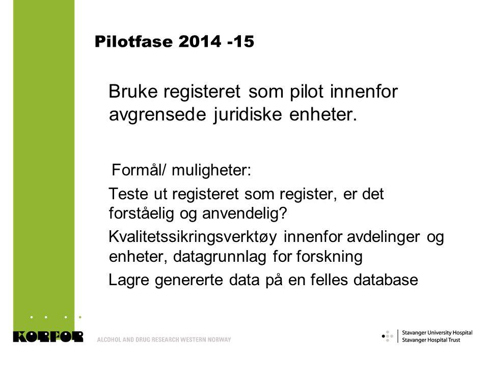 Pilotfase 2014 -15 Bruke registeret som pilot innenfor avgrensede juridiske enheter. Formål/ muligheter: Teste ut registeret som register, er det fors