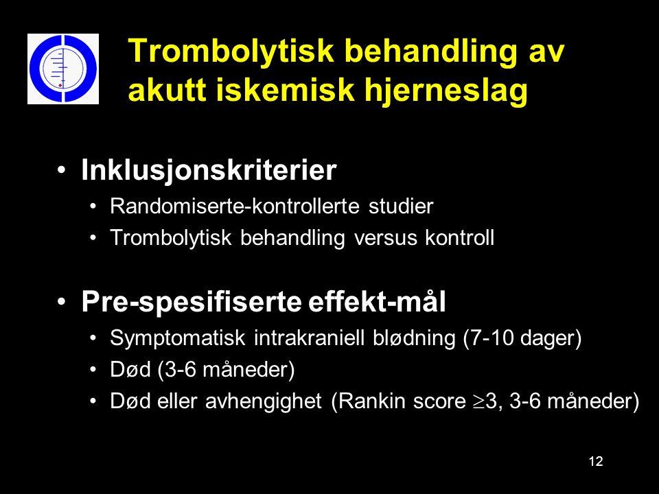 12 Trombolytisk behandling av akutt iskemisk hjerneslag Inklusjonskriterier Randomiserte-kontrollerte studier Trombolytisk behandling versus kontroll Pre-spesifiserte effekt-mål Symptomatisk intrakraniell blødning (7-10 dager) Død (3-6 måneder) Død eller avhengighet (Rankin score  3, 3-6 måneder)