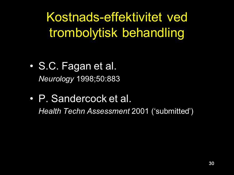 30 Kostnads-effektivitet ved trombolytisk behandling S.C. Fagan et al. Neurology 1998;50:883 P. Sandercock et al. Health Techn Assessment 2001 ('submi