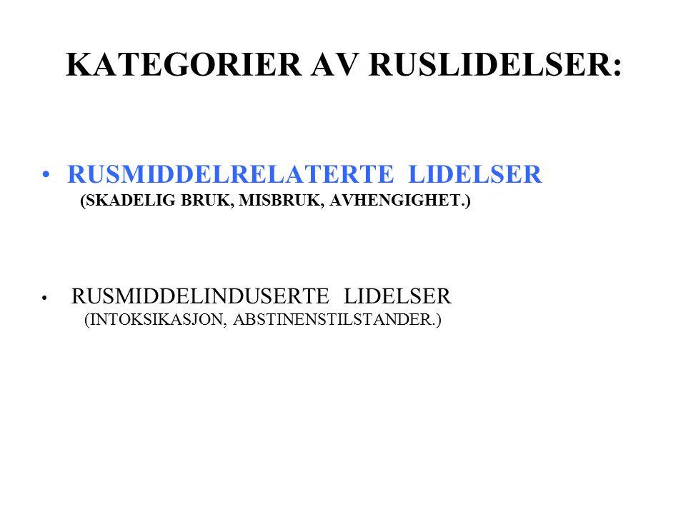 KATEGORIER AV RUSLIDELSER: RUSMIDDELRELATERTE LIDELSER (SKADELIG BRUK, MISBRUK, AVHENGIGHET.) RUSMIDDELINDUSERTE LIDELSER (INTOKSIKASJON, ABSTINENSTILSTANDER.)
