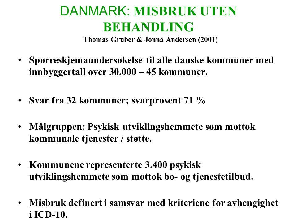 DANMARK: MISBRUK UTEN BEHANDLING Thomas Gruber & Jonna Andersen (2001) Spørreskjemaundersøkelse til alle danske kommuner med innbyggertall over 30.000 – 45 kommuner.