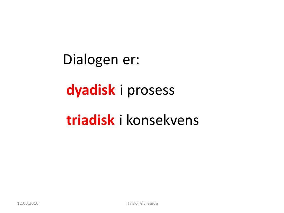 12.03.2010Haldor Øvreeide Dialogen er: dyadisk i prosess triadisk i konsekvens