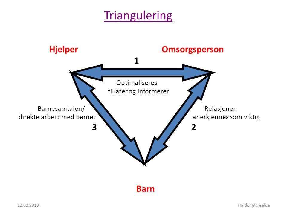 Triangulering Hjelper Omsorgsperson 1 Optimaliseres tillater og informerer Barnesamtalen/ Relasjonen direkte arbeid med barnet anerkjennes som viktig 3 2 Barn 12.03.2010Haldor Øvreeide