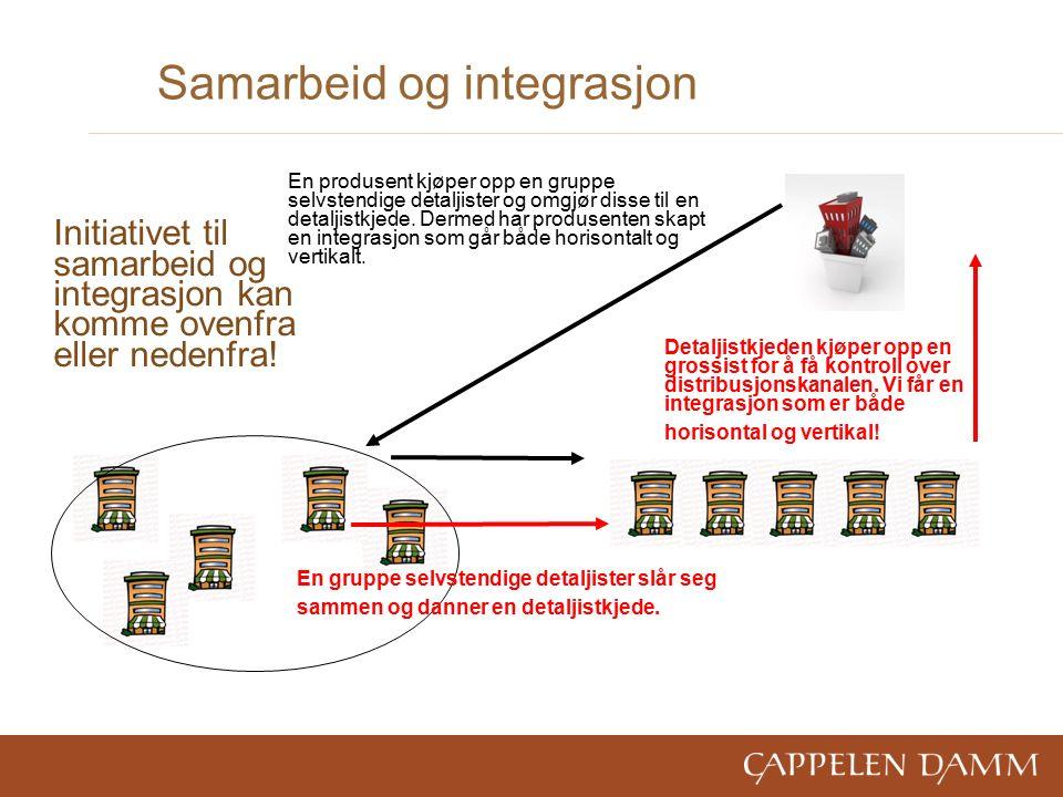 Samarbeid og integrasjon En gruppe selvstendige detaljister slår seg sammen og danner en detaljistkjede.