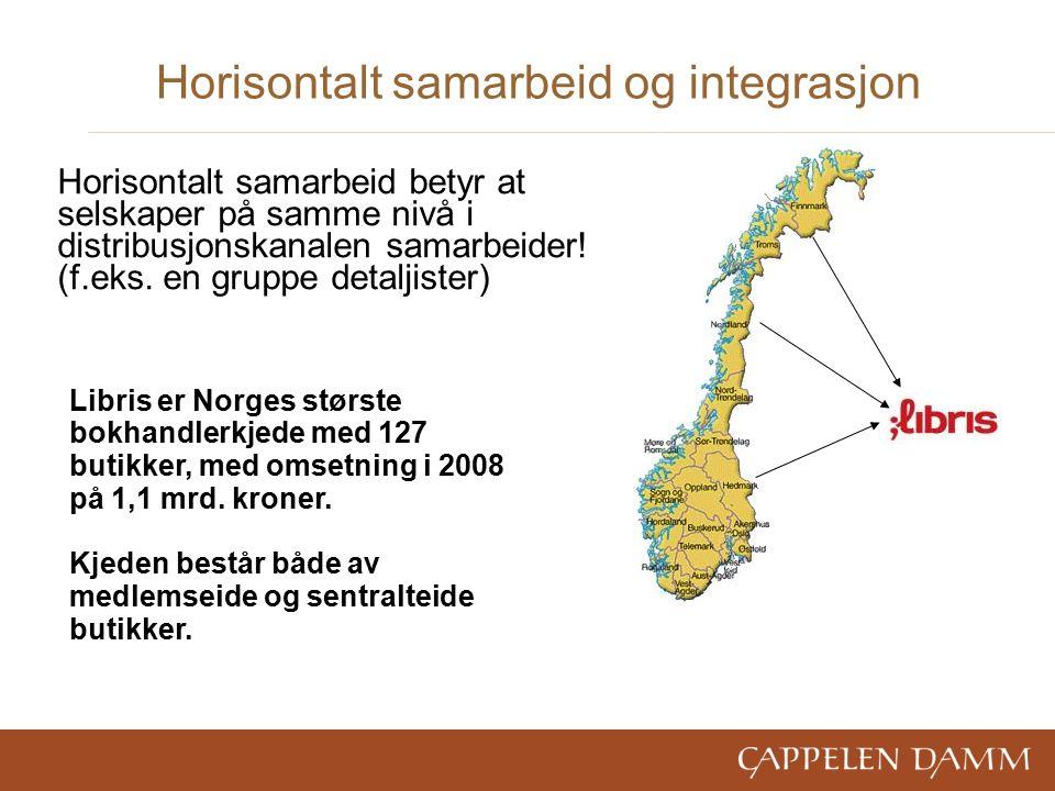 Horisontalt samarbeid og integrasjon Libris er Norges største bokhandlerkjede med 127 butikker, med omsetning i 2008 på 1,1 mrd.