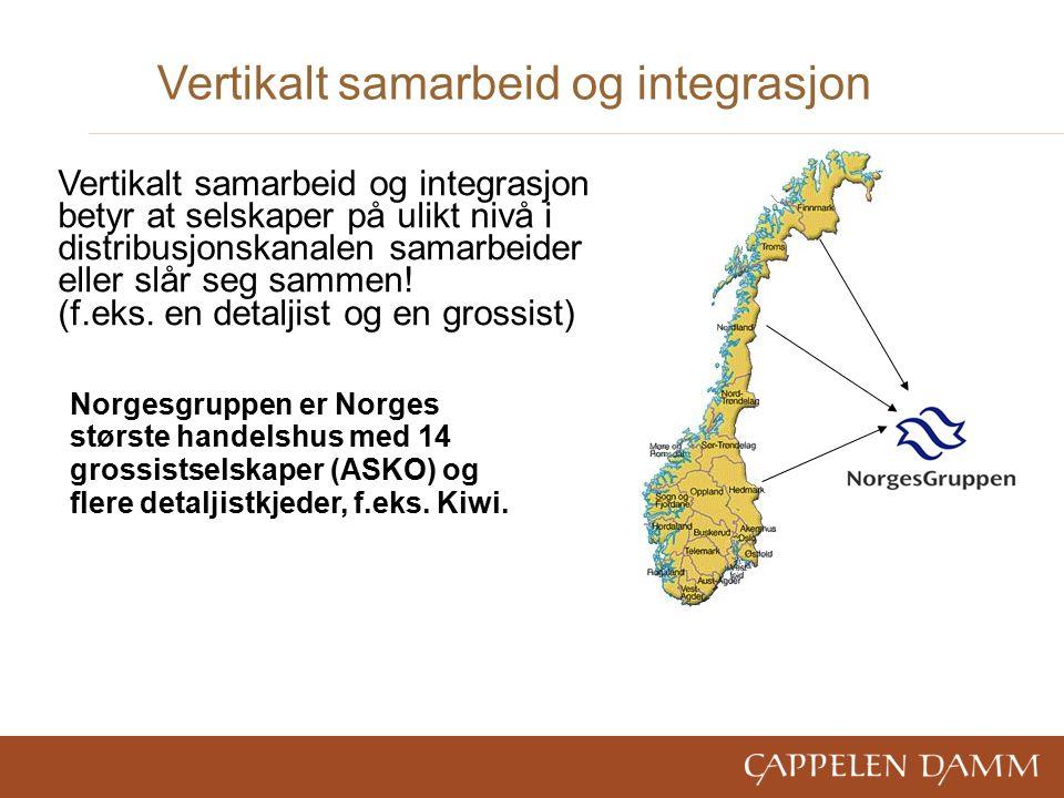 Vertikalt samarbeid og integrasjon Norgesgruppen er Norges største handelshus med 14 grossistselskaper (ASKO) og flere detaljistkjeder, f.eks.
