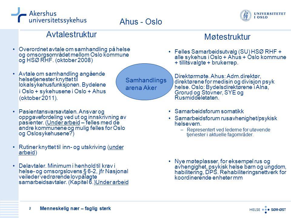 Menneskelig nær – faglig sterk 2 Avtalestruktur Overordnet avtale om samhandling på helse og omsorgsområdet mellom Oslo kommune og HSØ RHF.