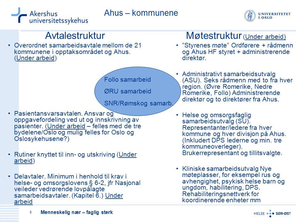 Menneskelig nær – faglig sterk 3 Avtalestruktur Overordnet samarbeidsavtale mellom de 21 kommunene i opptaksområdet og Ahus.