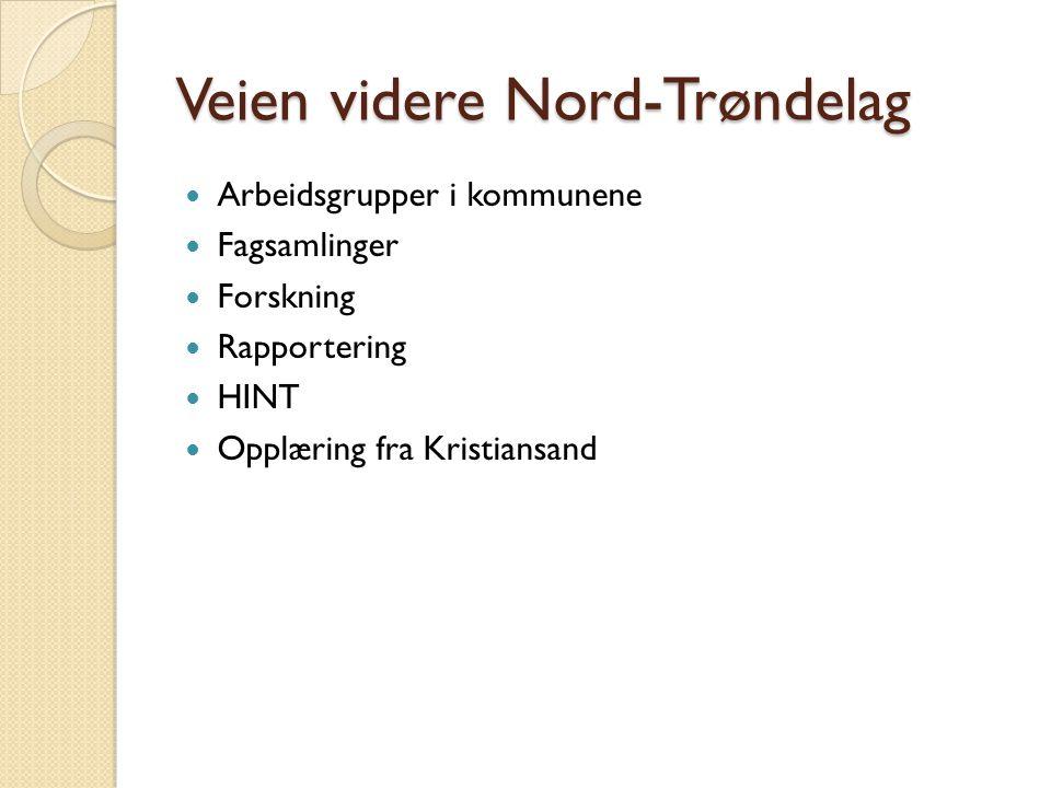 Veien videre Nord-Trøndelag Arbeidsgrupper i kommunene Fagsamlinger Forskning Rapportering HINT Opplæring fra Kristiansand