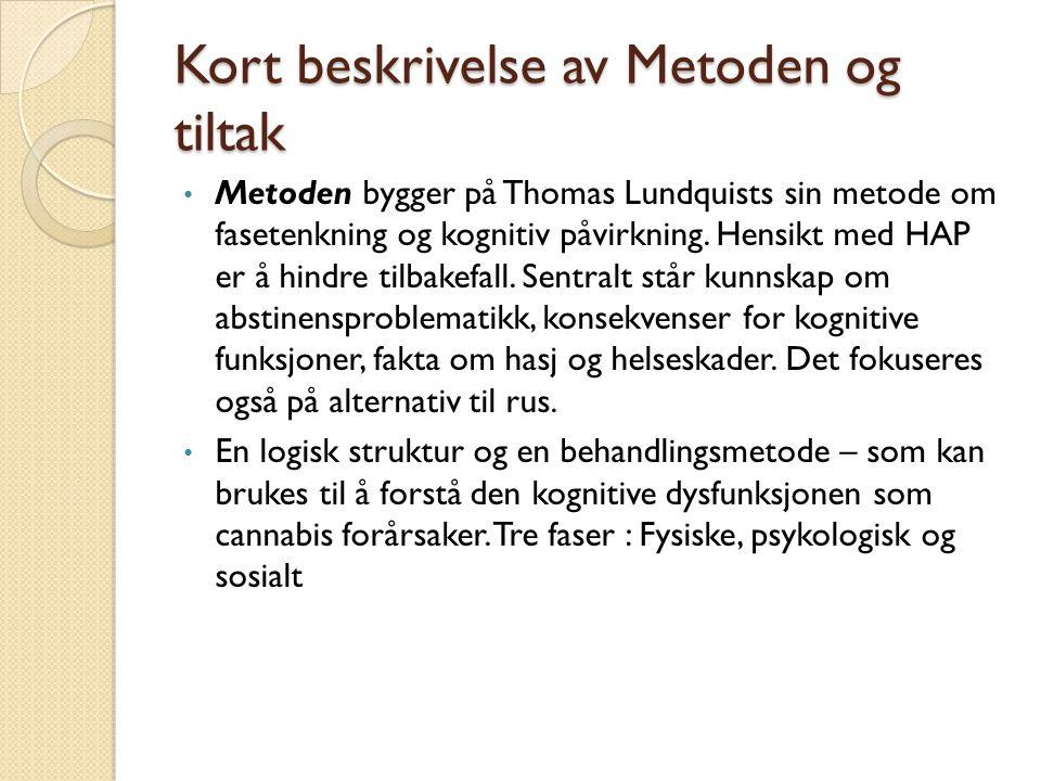 Kort beskrivelse av Metoden og tiltak Metoden bygger på Thomas Lundquists sin metode om fasetenkning og kognitiv påvirkning.