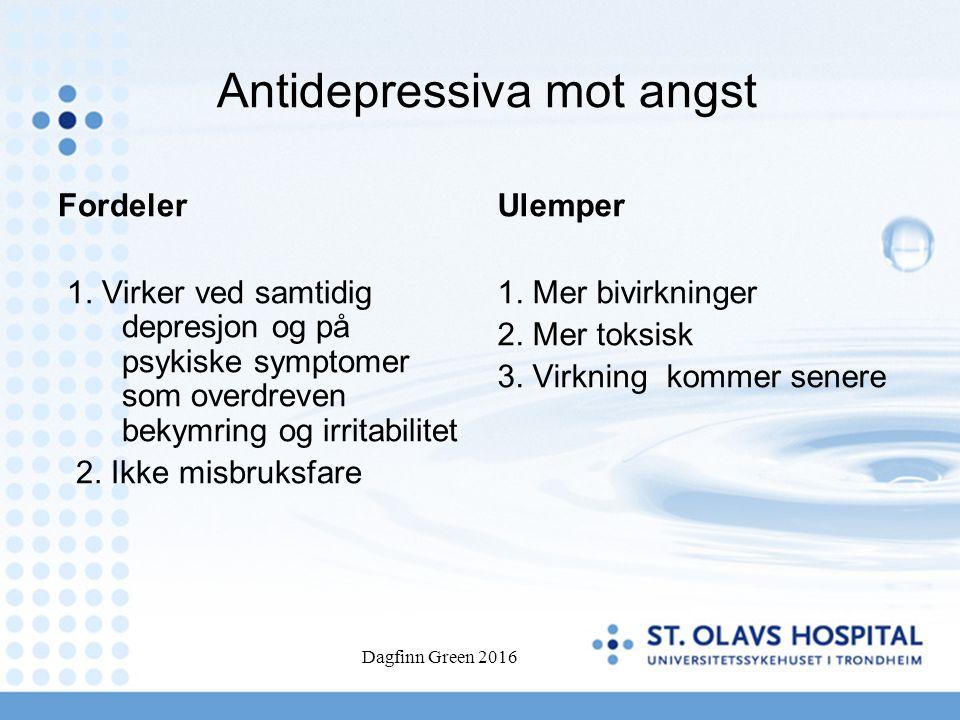 Antidepressiva mot angst Fordeler 1.