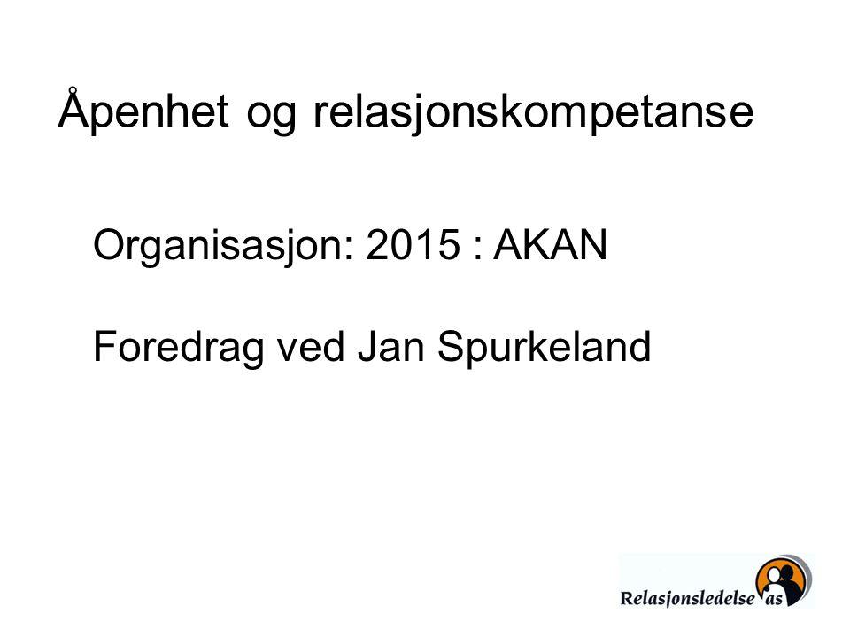 Åpenhet og relasjonskompetanse Organisasjon: 2015 : AKAN Foredrag ved Jan Spurkeland