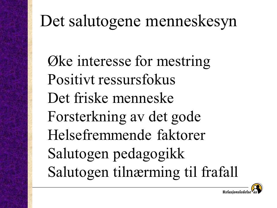 Det salutogene menneskesyn Øke interesse for mestring Positivt ressursfokus Det friske menneske Forsterkning av det gode Helsefremmende faktorer Salutogen pedagogikk Salutogen tilnærming til frafall
