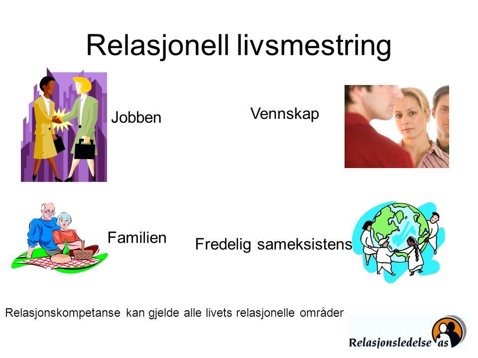 Relasjonell livsmestring Relasjonskompetanse kan gjelde alle livets relasjonelle områder Jobben Vennskap Familien Fredelig sameksistens