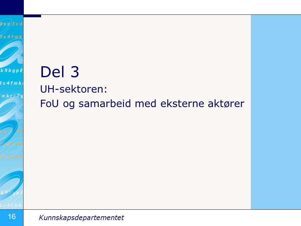 16 Kunnskapsdepartementet Del 3 UH-sektoren: FoU og samarbeid med eksterne aktører
