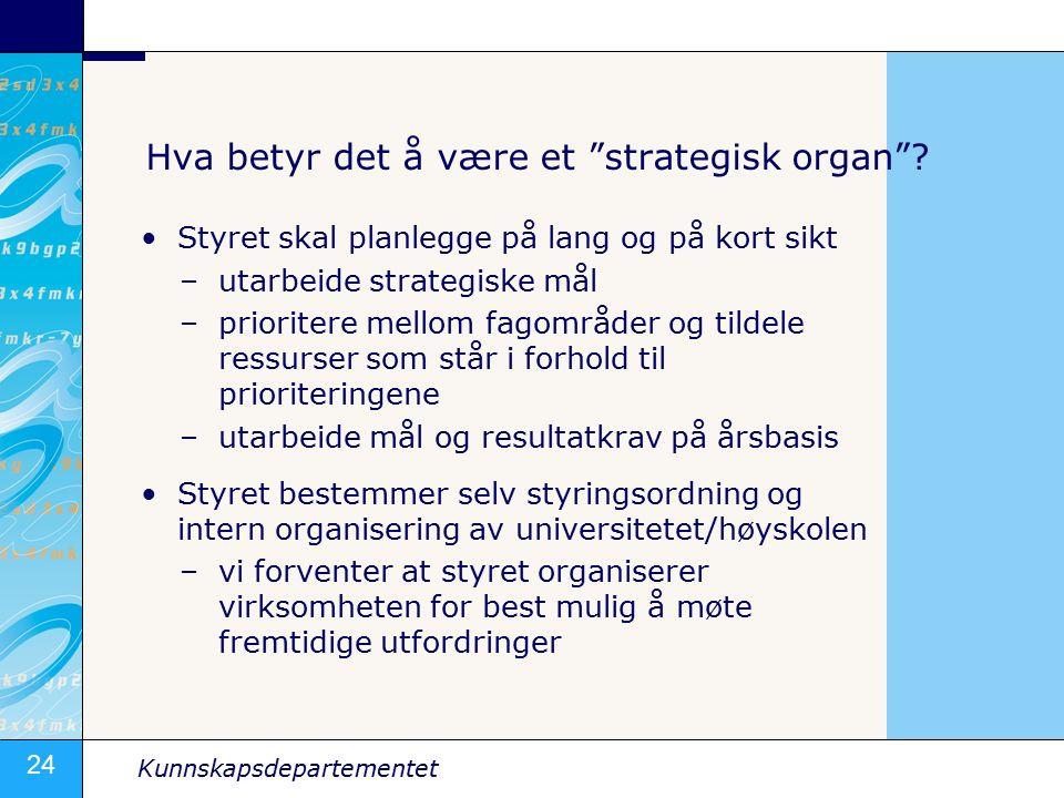 24 Kunnskapsdepartementet Hva betyr det å være et strategisk organ .