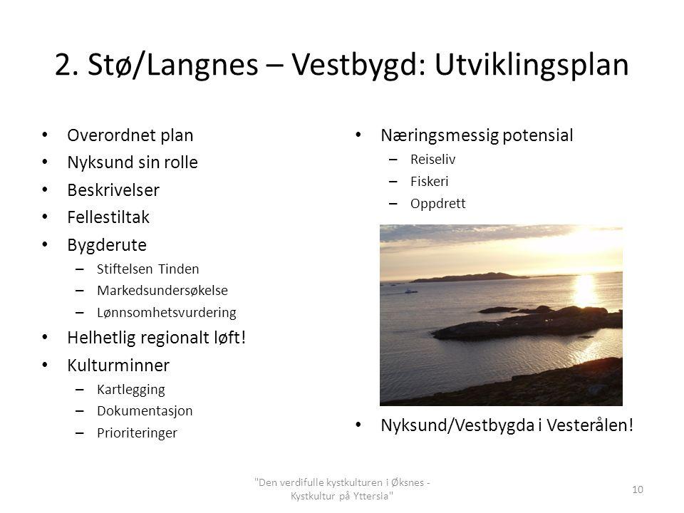 2. Stø/Langnes – Vestbygd: Utviklingsplan Overordnet plan Nyksund sin rolle Beskrivelser Fellestiltak Bygderute – Stiftelsen Tinden – Markedsundersøke