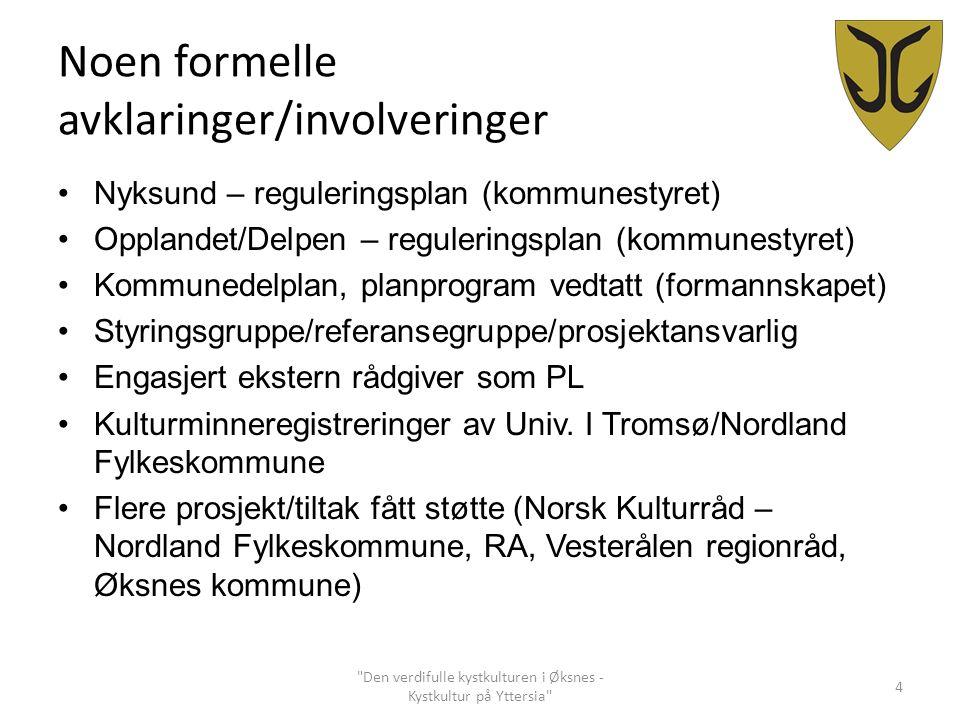 Noen formelle avklaringer/involveringer Nyksund – reguleringsplan (kommunestyret) Opplandet/Delpen – reguleringsplan (kommunestyret) Kommunedelplan, p