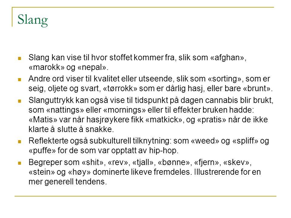Slang Slang kan vise til hvor stoffet kommer fra, slik som «afghan», «marokk» og «nepal». Andre ord viser til kvalitet eller utseende, slik som «sorti