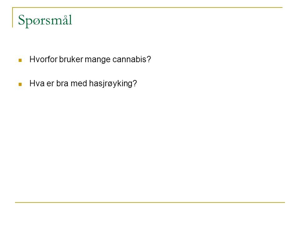 Spørsmål Hvorfor bruker mange cannabis? Hva er bra med hasjrøyking?