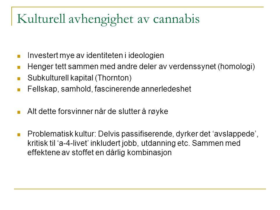 Kulturell avhengighet av cannabis Investert mye av identiteten i ideologien Henger tett sammen med andre deler av verdenssynet (homologi) Subkulturell