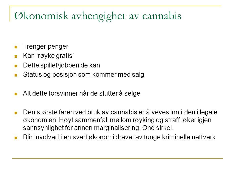 Økonomisk avhengighet av cannabis Trenger penger Kan 'røyke gratis' Dette spillet/jobben de kan Status og posisjon som kommer med salg Alt dette forsvinner når de slutter å selge Den største faren ved bruk av cannabis er å veves inn i den illegale økonomien.