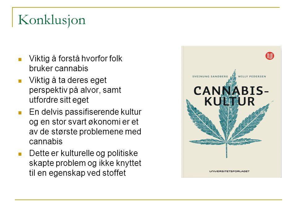 Konklusjon Viktig å forstå hvorfor folk bruker cannabis Viktig å ta deres eget perspektiv på alvor, samt utfordre sitt eget En delvis passifiserende k