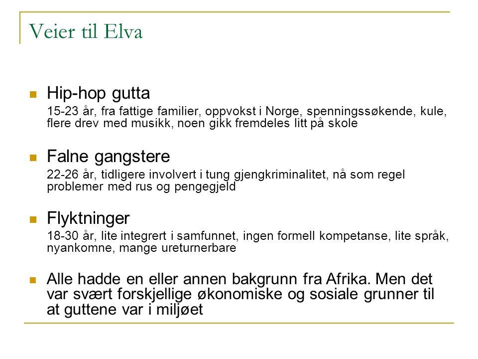 Veier til Elva Hip-hop gutta 15-23 år, fra fattige familier, oppvokst i Norge, spenningssøkende, kule, flere drev med musikk, noen gikk fremdeles litt på skole Falne gangstere 22-26 år, tidligere involvert i tung gjengkriminalitet, nå som regel problemer med rus og pengegjeld Flyktninger 18-30 år, lite integrert i samfunnet, ingen formell kompetanse, lite språk, nyankomne, mange ureturnerbare Alle hadde en eller annen bakgrunn fra Afrika.