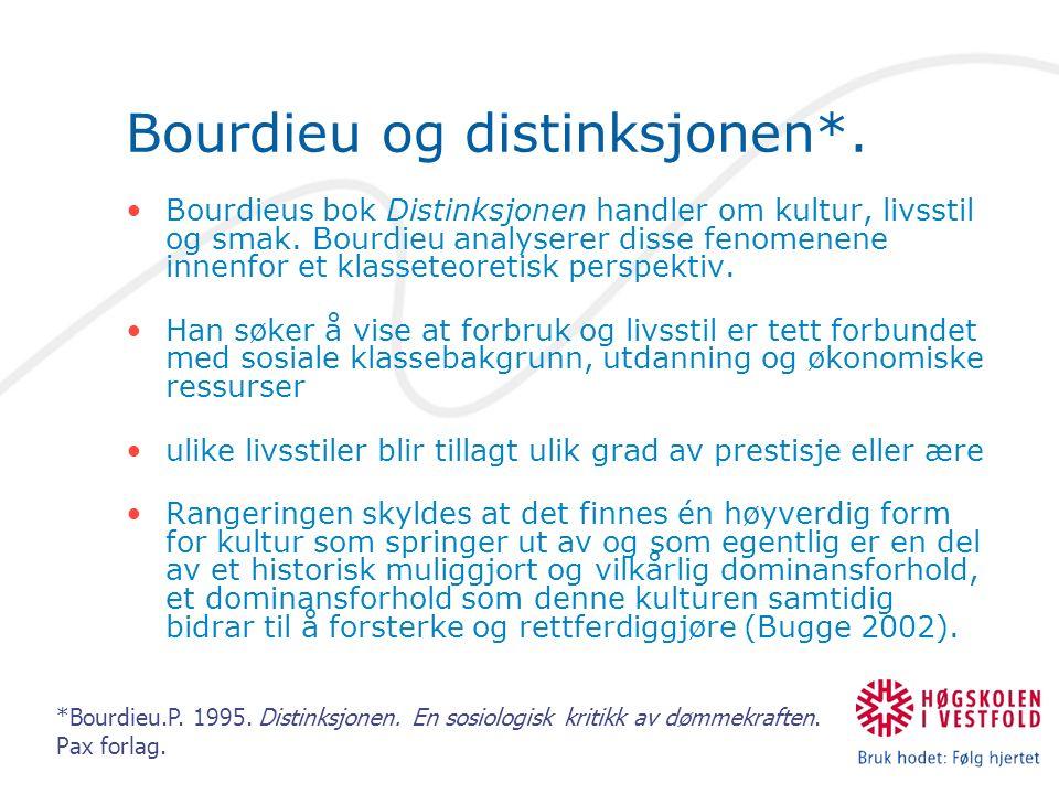 Bourdieu og distinksjonen*. Bourdieus bok Distinksjonen handler om kultur, livsstil og smak.