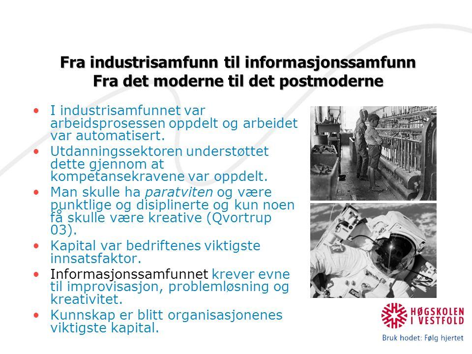 I industrisamfunnet var arbeidsprosessen oppdelt og arbeidet var automatisert.